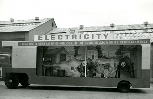 Trailer displaying Irish manufactured good used by the E.S.B